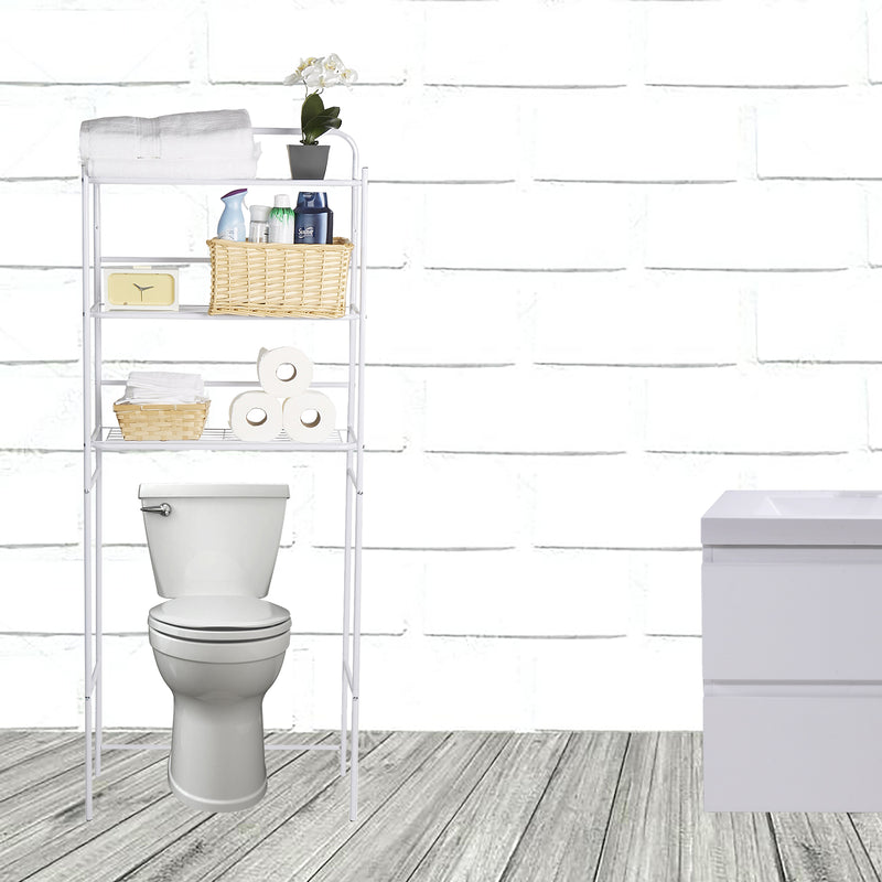 3-Tier Toilet Rack, Bathroom Organizer, Over the Toilet Unit, Bathroom Space Saver, Accessories Stand Storage Organizer