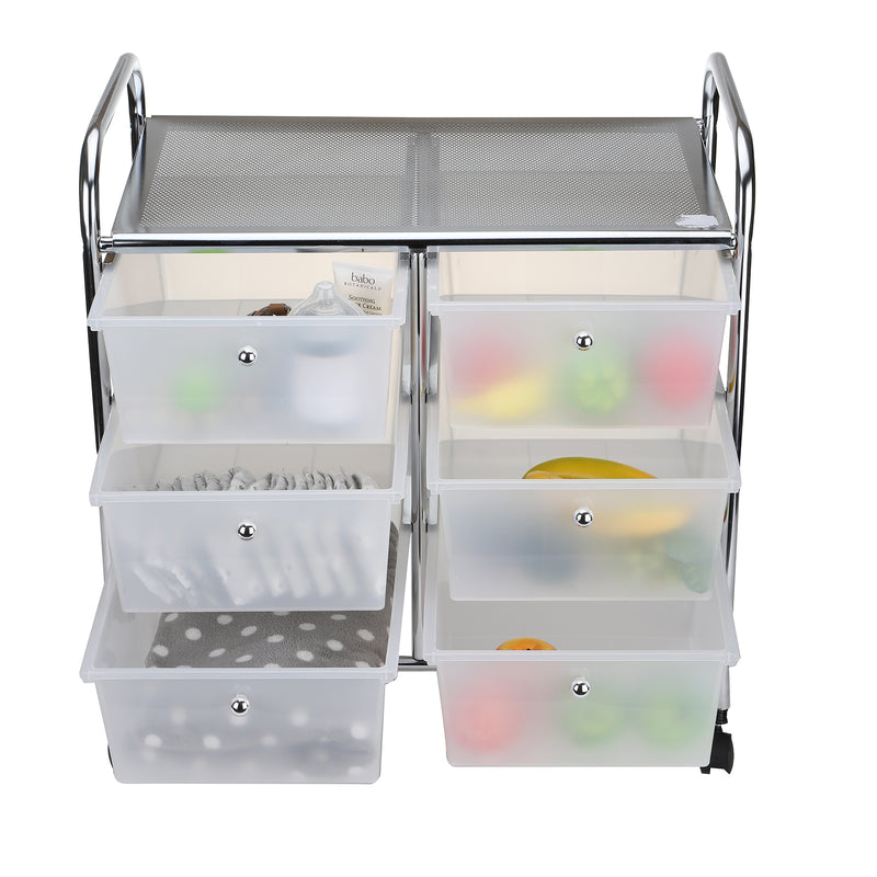 Mind Reader Storage Drawer Rolling Utility Cart, 6 Drawer Organizer, All Purpose, White / Silver