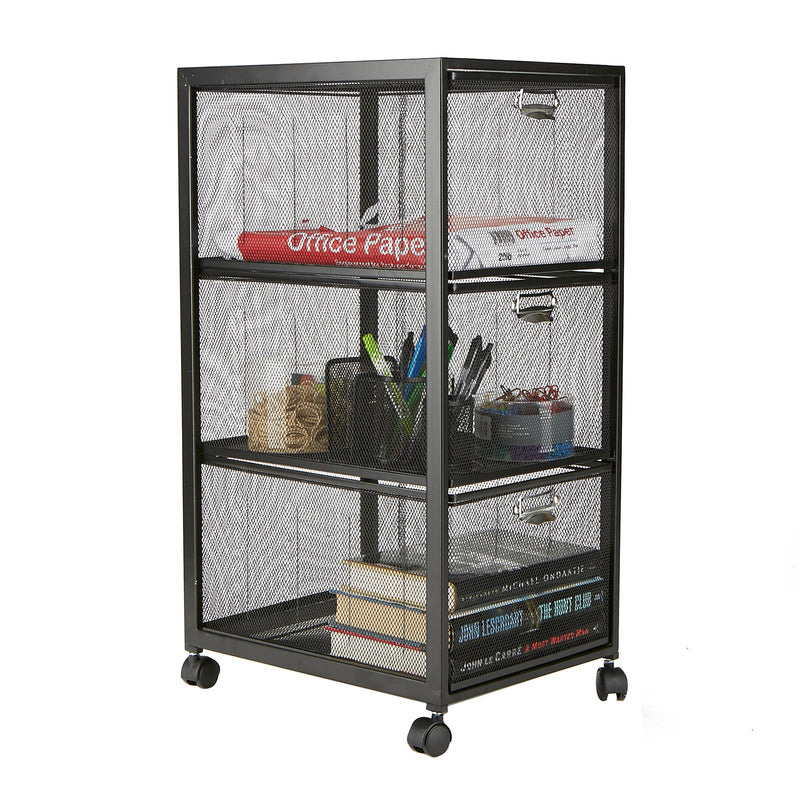 Mind Reader Tiered Drawer Cabinet, Rolling Mesh Office Cart, Metal Storage, Drawers, File Storage Cart, Utility Cart, Office Storage, Heavy Duty Multi-Purpose Cart, Black