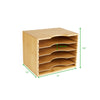 Mind Reader Vertical 4 Tier File Organizer Box, Adjustable Shelves, Space-Saver, Home, Office, School, Study Room, Bamboo Brown