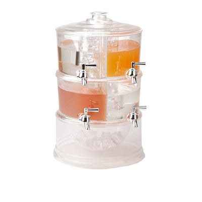 Tier Beverage Drink Dispenser with Spigot Stackable Punch Bowl with Lids and Ice Bucket Bottom