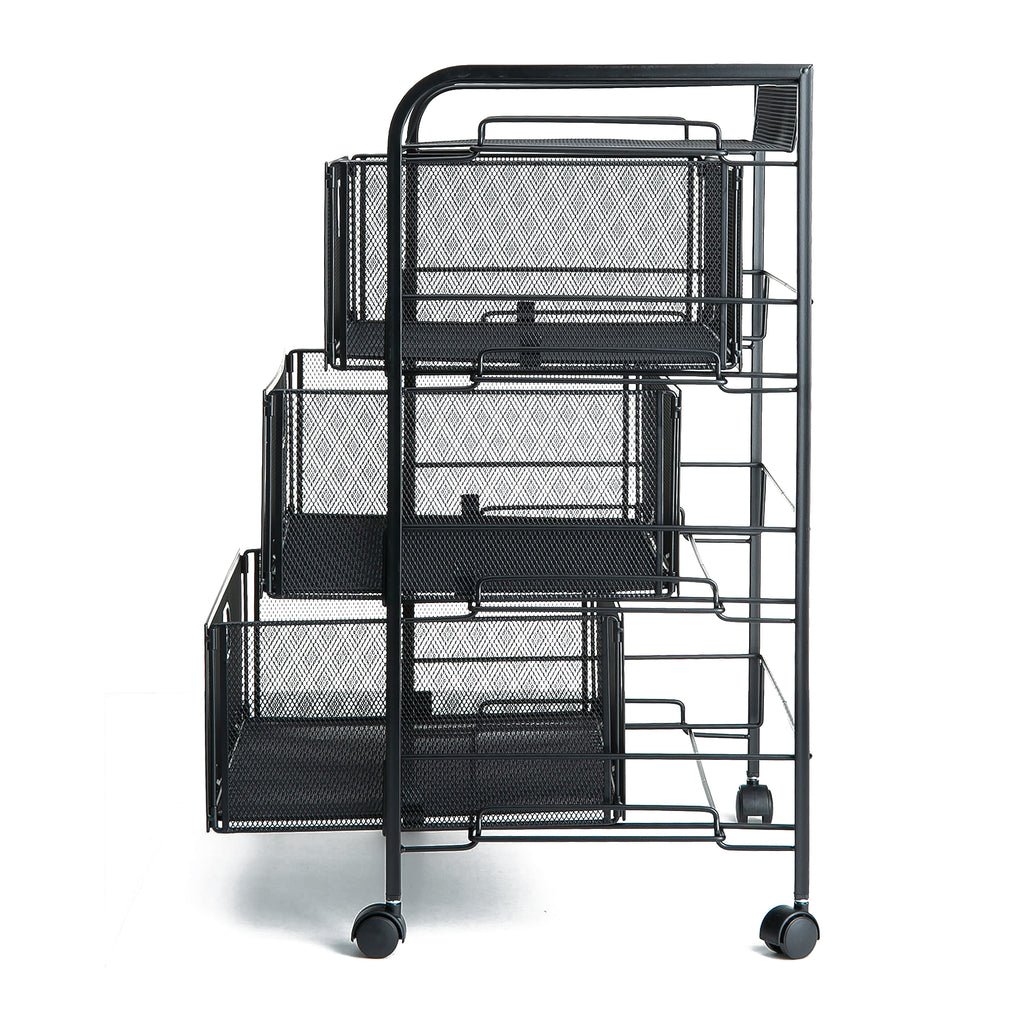 Mind Reader Mesh 3 Drawer Heavy Duty Multi-Purpose Cart