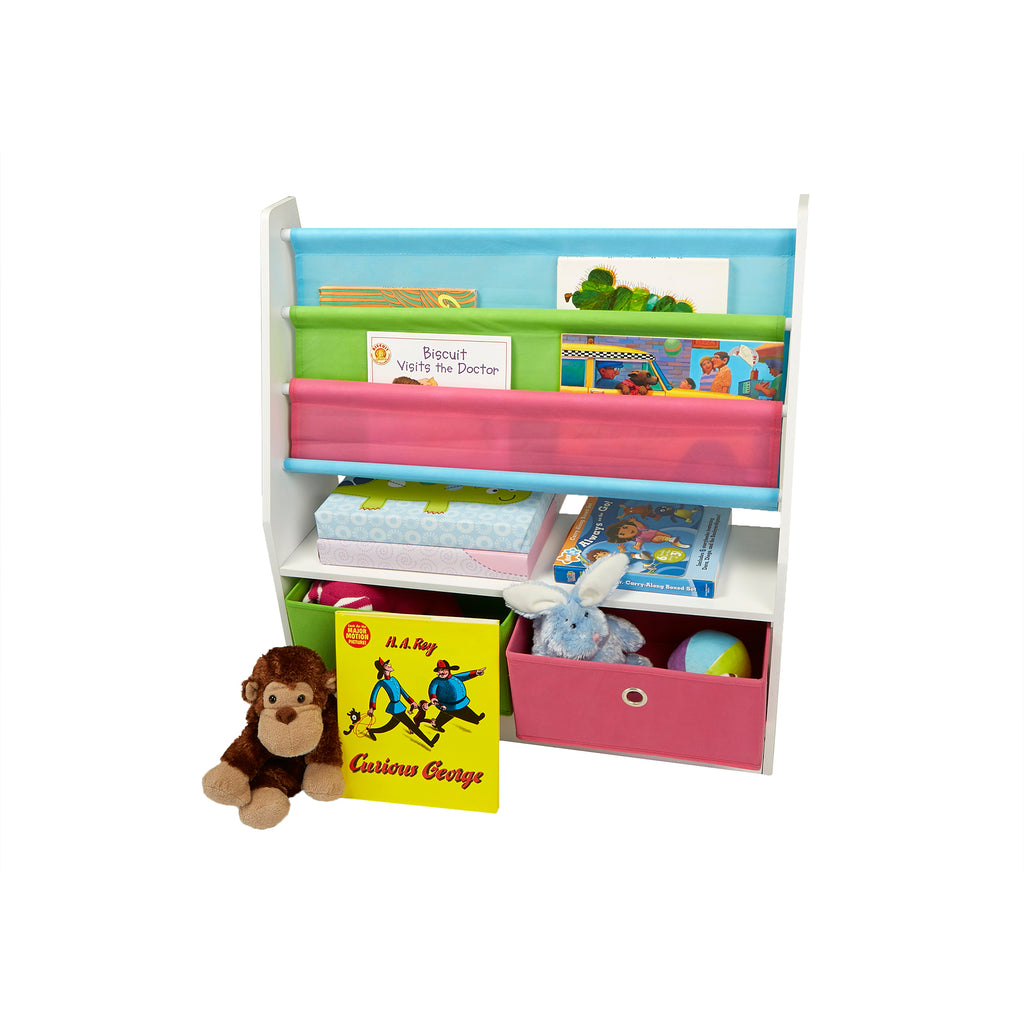 Toy Storage Organizer Kids Book Organizer with Folding Drawers for Toddler Toys, Multi Color