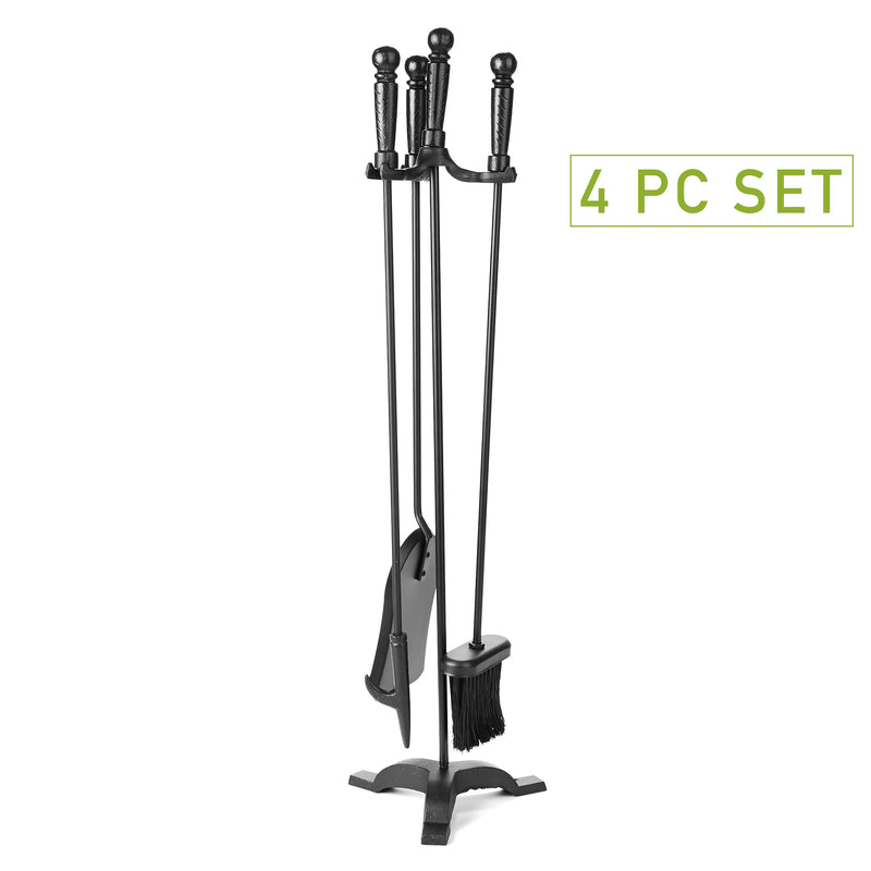 4 Piece Stand Alone Fire Place Set, Iron Steel Construction, Includes Stand, Brush, Shovel/Scooper, Poker, Black
