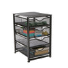 4-Tiered Drawers Cabinet, Rolling Mesh Office Cart, Metal Storage, Drawers, File Storage Cart, Utility Cart, Office Storage, Heavy Duty Multi-Purpose Cart, Black