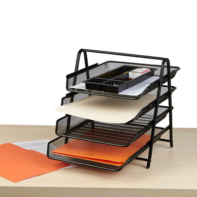 Mind Reader 4 Tier Paper File Tray, Desk Organizer with 4 Sliding Trays for Letters, Documents, Mail, Files, Paper