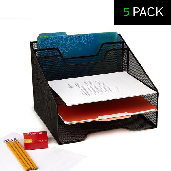 5 Compartment Mesh Desk Organizer - 5 Pack