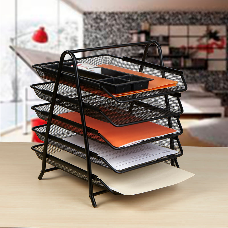 5-Tier Paper File Tray with 5 Sliding Trays, Multiple Colors