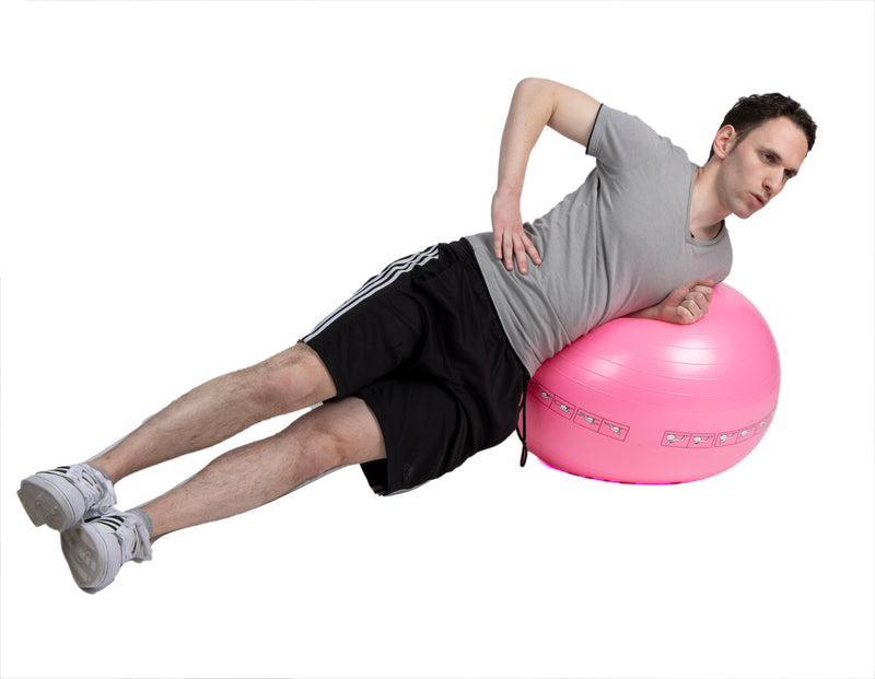 Exercise Yoga Ball for Fitness, Stability, Balance, Yoga, Anti-Burst Heavy Duty Birthing Ball with Quick Pump Included, Home / Office Ball Chair, Yoga Poses Printed on Ball, Pink, 65 CM