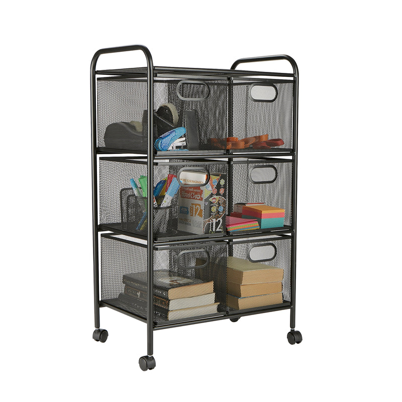 6 Drawer Rolling Mesh Office Cart, Metal Storage, Drawers, File Storage Cart, Utility Cart, Office Storage, Heavy Duty Multi-Purpose Cart, Black