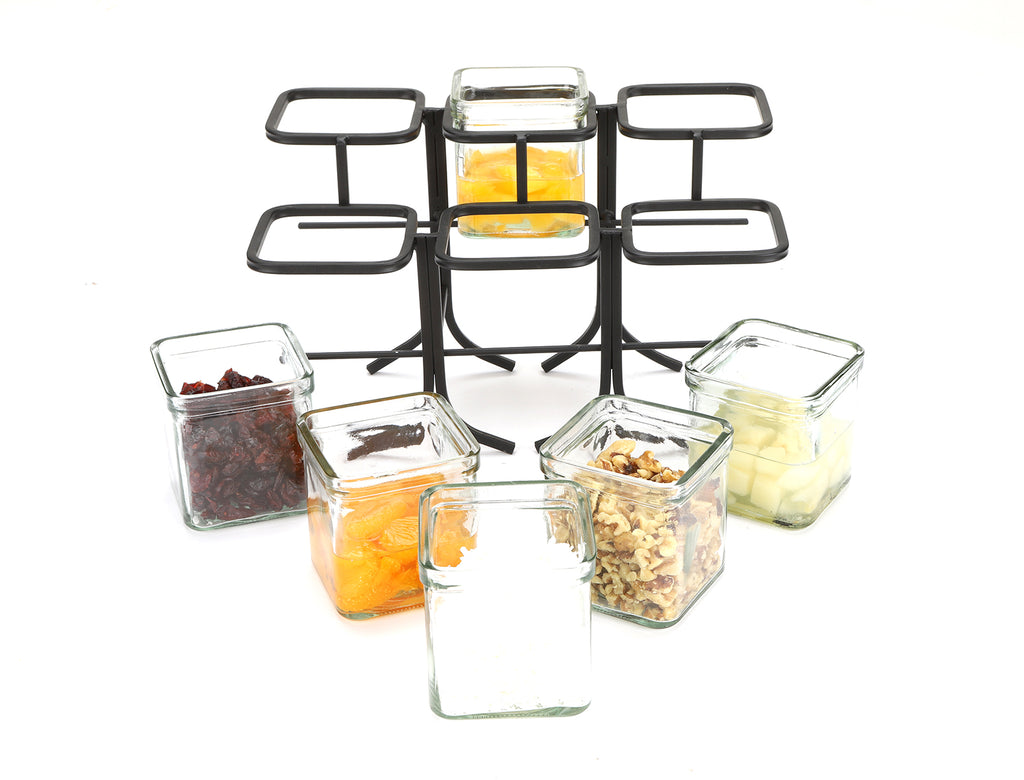 6 Compartment Condiment Server Jar Stand, Garnish Station for Restaurant, Bars, Removable Jars, Black