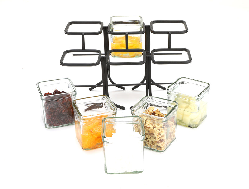 6 Compartment Condiment Server Jar Stand with Removable Glass Jars