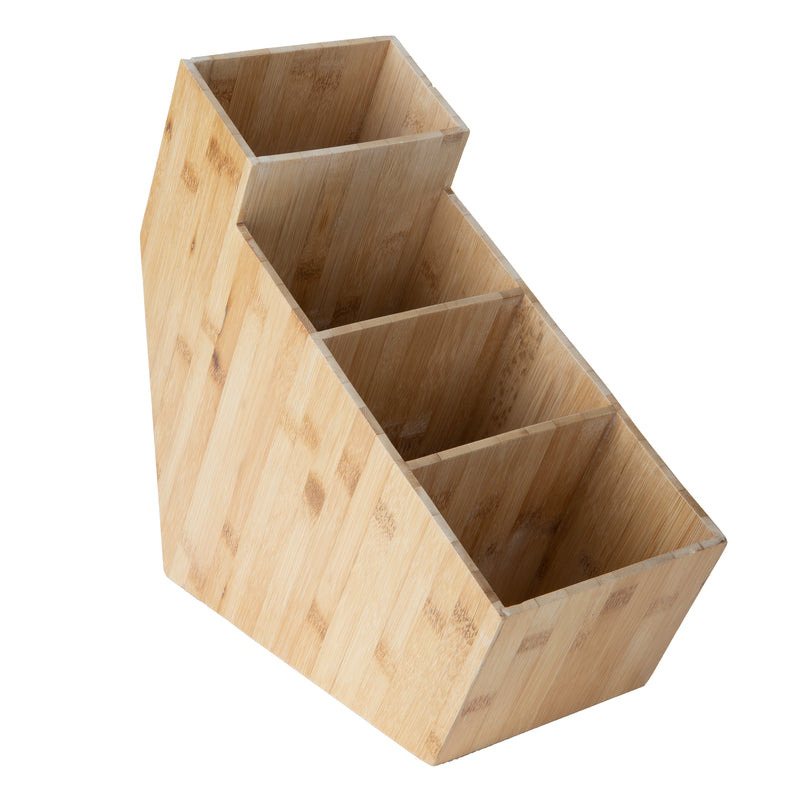 4-Section Bamboo Condiment Organizer, Breakroom, Brown