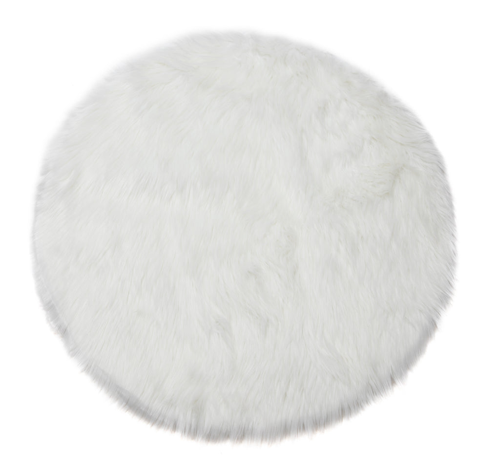Faux Sheepskin Rug, Comfortable Plush Anti-Skid 3′ x 3′, White
