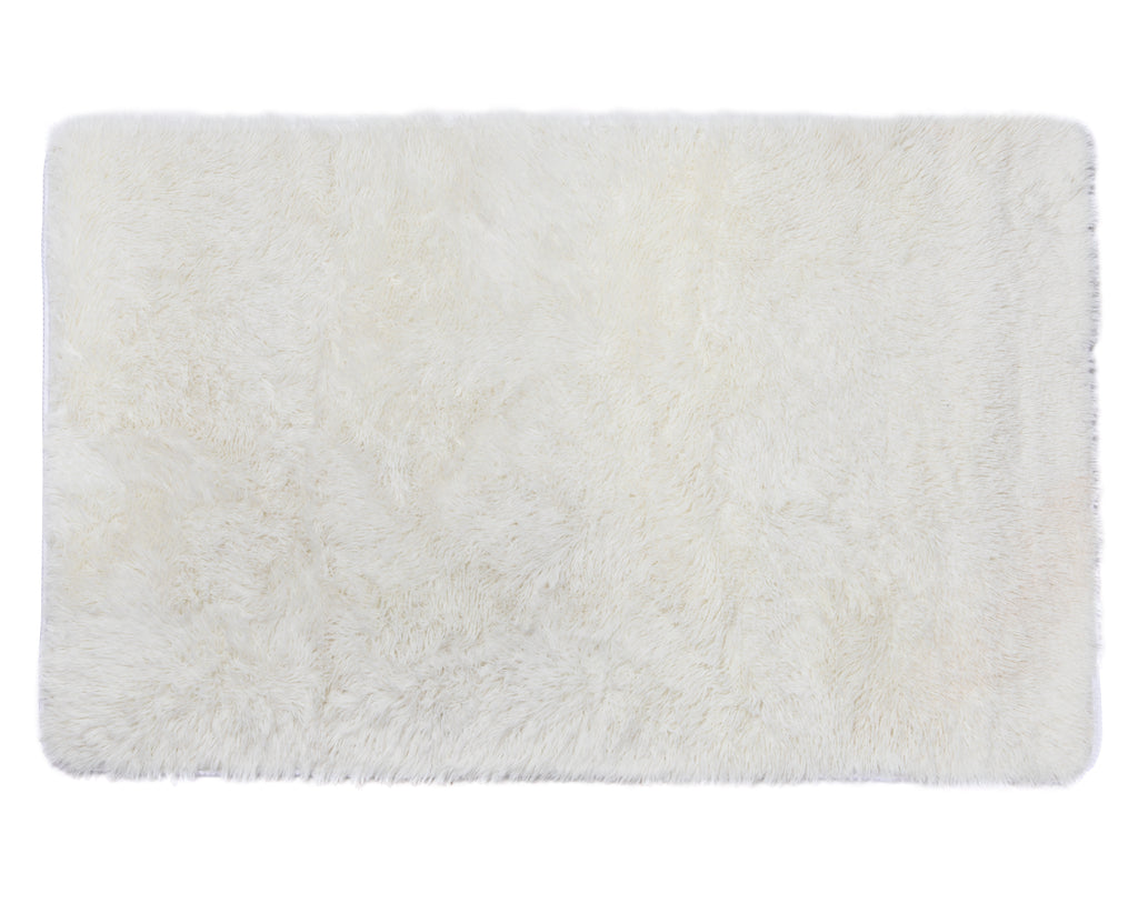 Plush PV Fur Rug, Cozy High Pile Non-Slip, 3′ x 5′ Beige