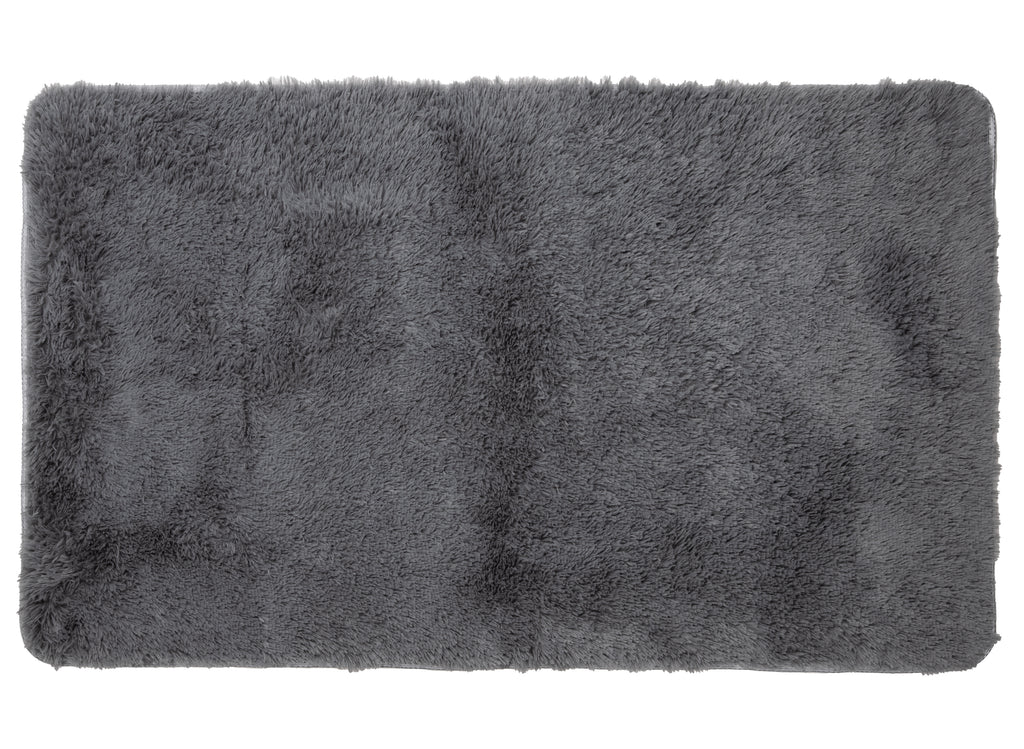 Mind Reader Plush PV Fur Rug, Cozy High Pile Non-Slip, Soft Shag, 3′ x 5′, Grey