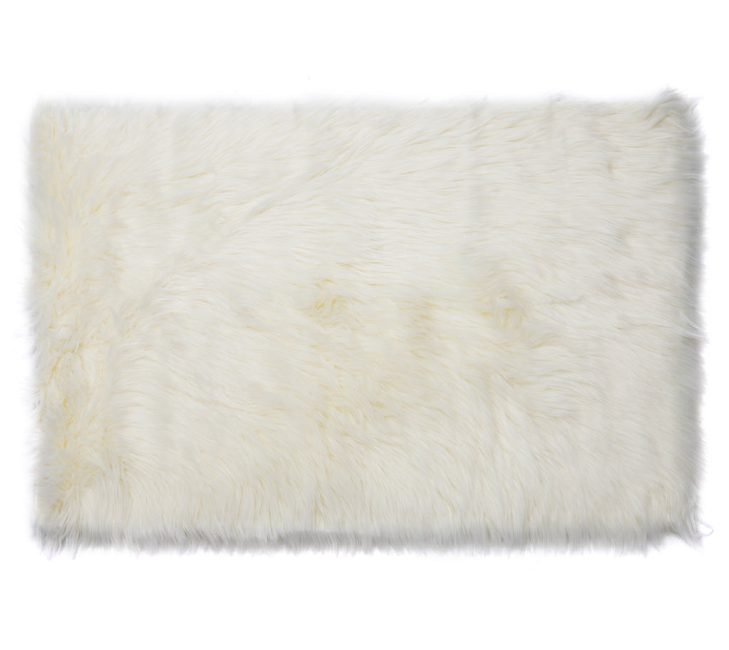 Faux Sheepskin Rug, Comfortable Plush Anti-Skid Area Carpet, 2′ x 3′, Beige