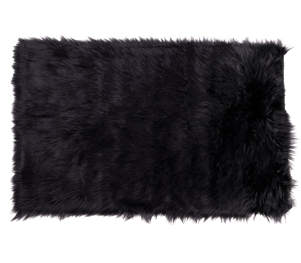 Faux Sheepskin Rug, Comfortable Plush Anti-Skid Area Carpet 2′ x 3′ Black