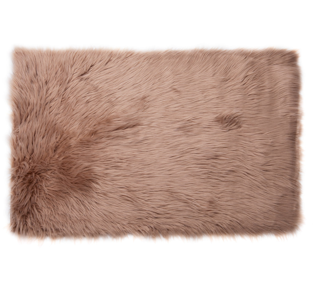Faux Sheepskin Rug, Comfortable Plush Anti-Skid 2′ x 3′, Brown