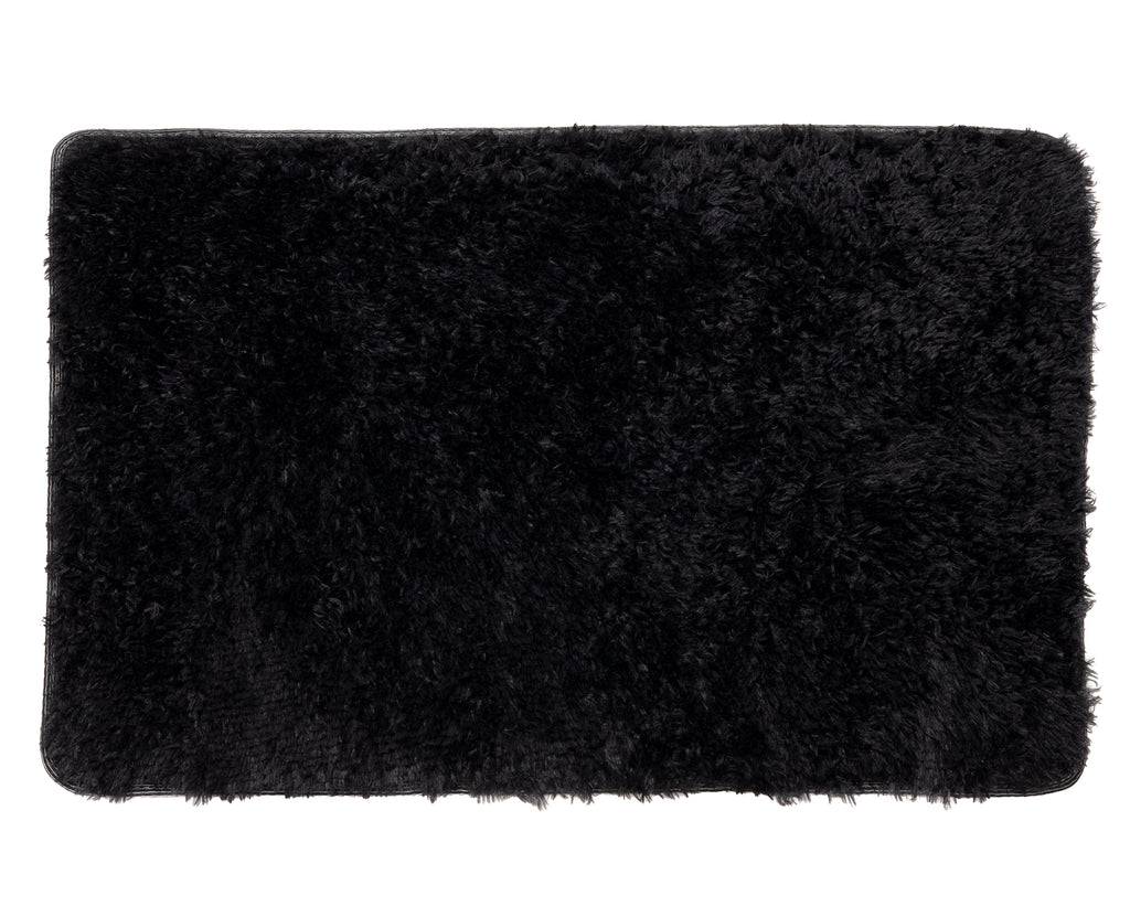 Plush PV Fur Rug, Cozy High Pile Non-Slip Soft Shag, 2′ x 3′, Black