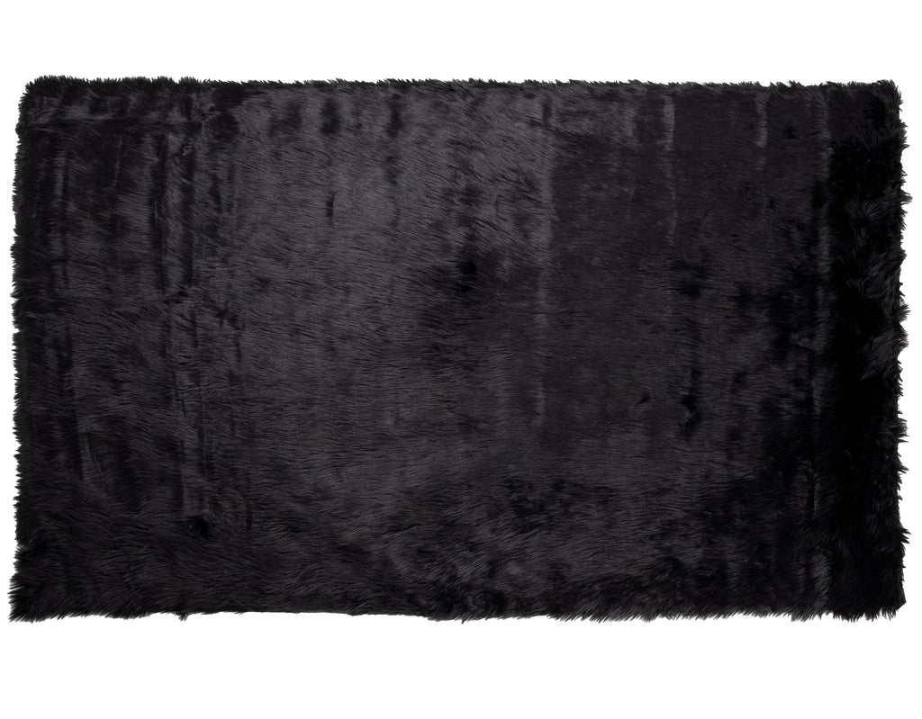 Faux Sheepskin Rug 5′ x 7′, Black