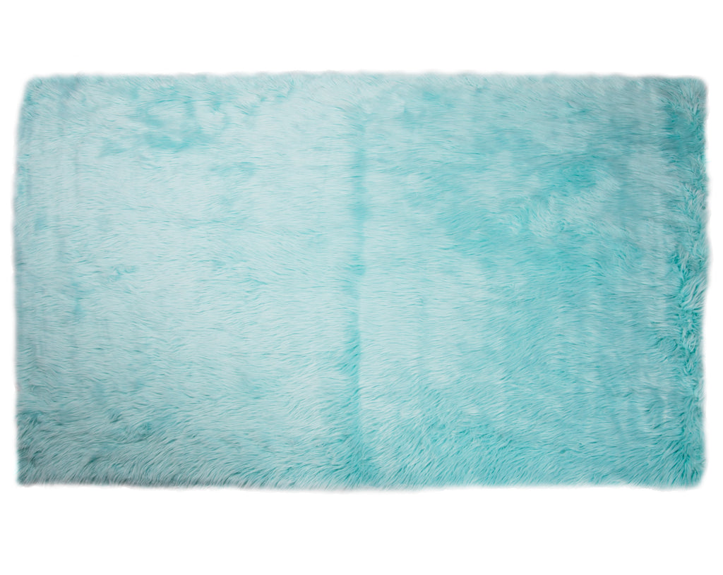 Faux Sheepskin Rug, Extra Large Plush Anti-Skid Area 5′ x 7′, Blue