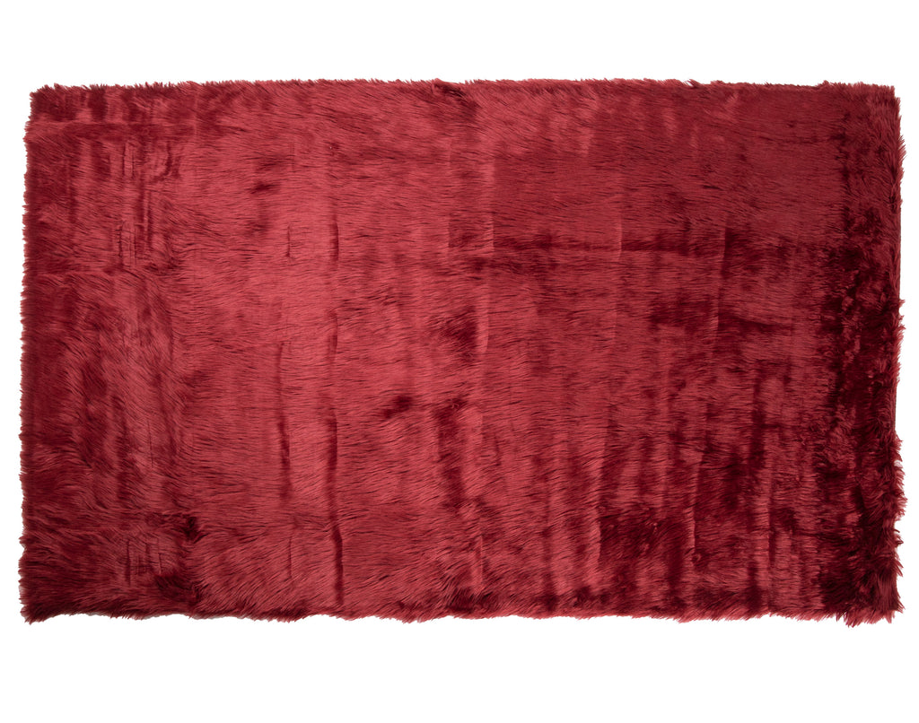 Faux Sheepskin Rug, Extra Large Plush Anti-Skid Area, 5′ x 7′, Burgundy