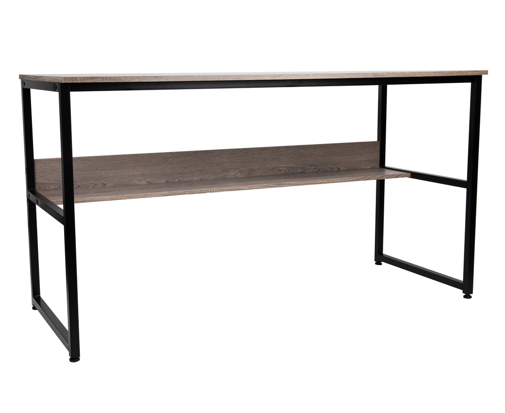55 Inch Computer Table with Shelf, Desk for Home or Office, Brown