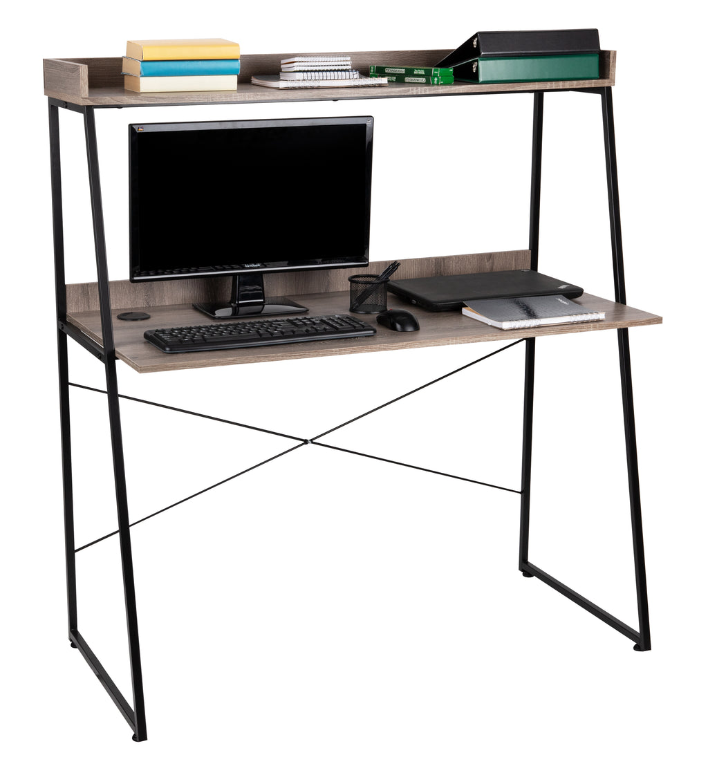 Mind Reader 47 Inch Desk with Top Shelf, Computer Workstation, Home, Office, Brown