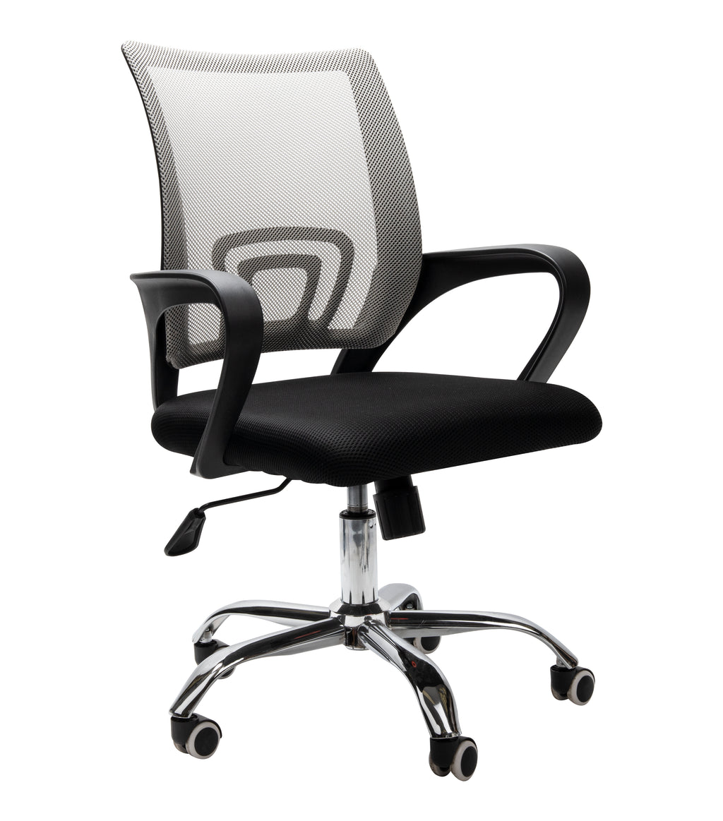 Mind Reader Ergonomic Adjustable Rolling Office Chair, Silver