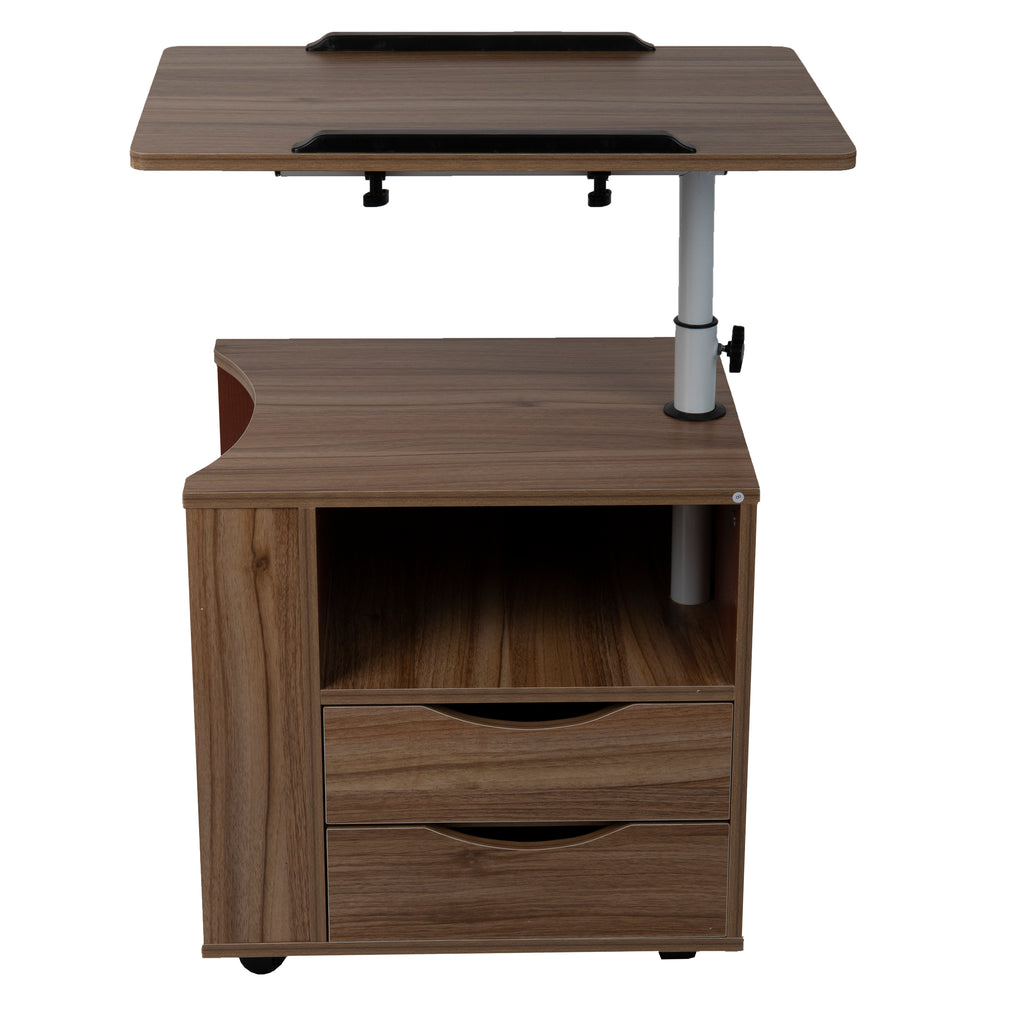 Bedside Workstation Adjustable Desk Swivel Top Laptop Desk, Brown