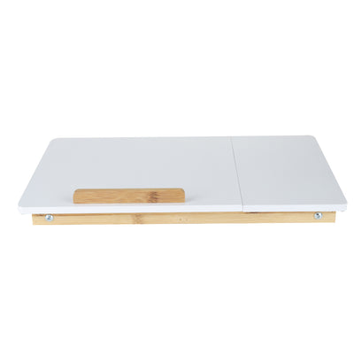 MIND READER Bamboo Lap Desk [Tilting Top With Side Drawer] Breakfast Tray for Bed, Computer Laptop Desk For Adults