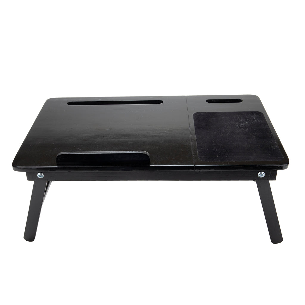 Bamboo Bed Tray Adjustable Lap Desk with Foldable Legs Multi-Function Tilting Sections. Black