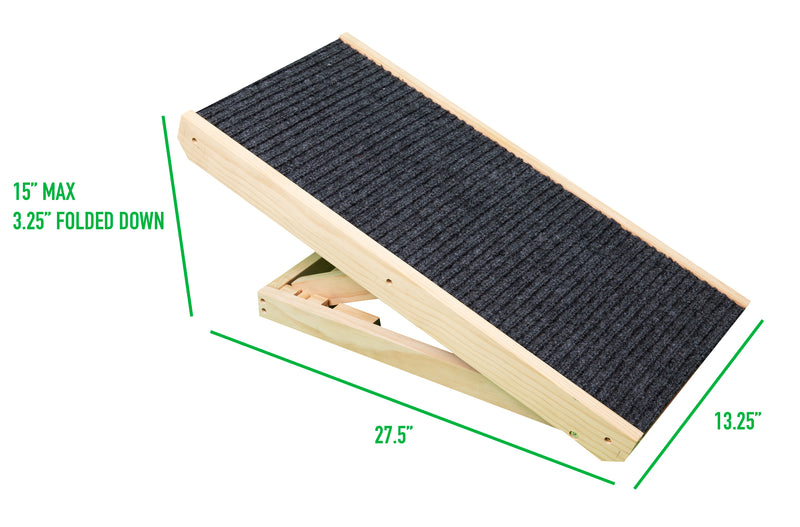 Mind Reader Carpeted Dog Ramp with Adjustable Height Slope for Pets, Brown