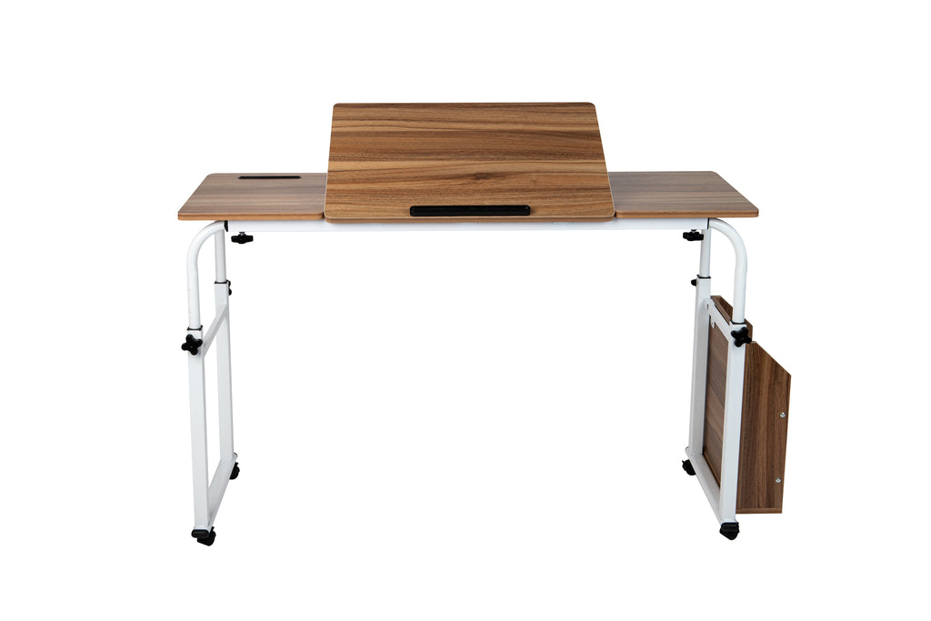 Over Bed Table Desk with Adjustable Height/Width Tilting Section for Laptop, Brown