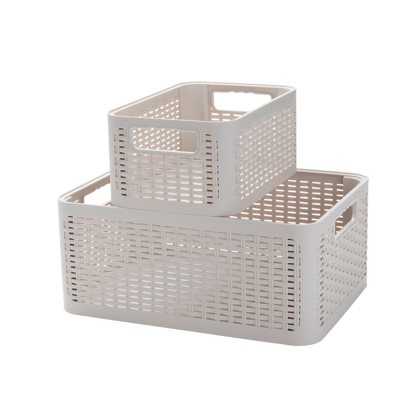 2-Tier Stackable Plastic Storage Bins, Ivory