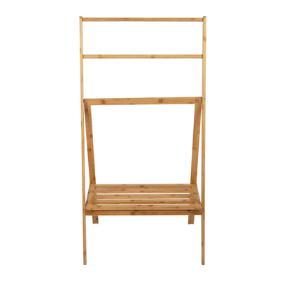 Freestanding Bamboo Drying Rack with Shelf, Brown