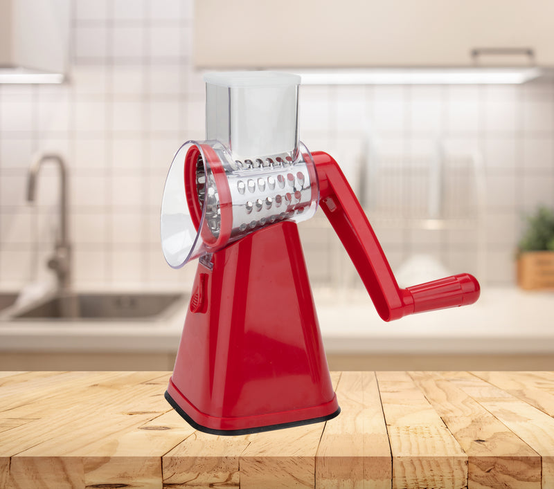 Rotary Drum Cheese Grater, Vegetable Shredder, Food Slicer and Chopper with Interchangeable Blades, Red