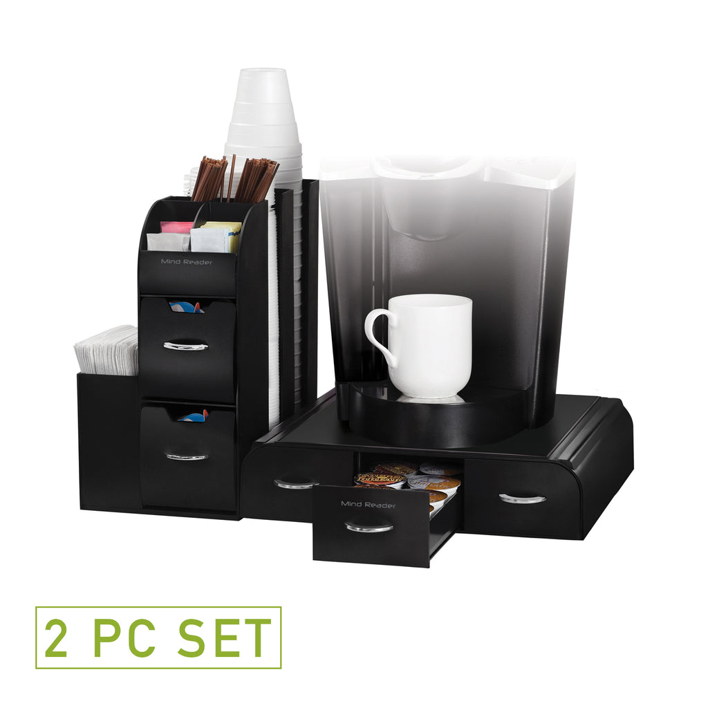 2-Piece K-Cup Single Serve Coffee Pod Drawer and Condiment Organizer