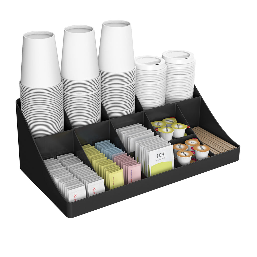 11 Compartment Breakroom Coffee Condiment Organizer