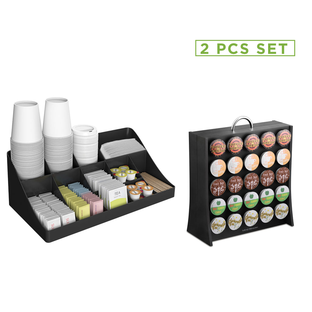 11 Compartment Coffee Condiment Organizer & 50 Capacity K-Cup Single Serve Coffee Pod Holder Storage Organizer, Black