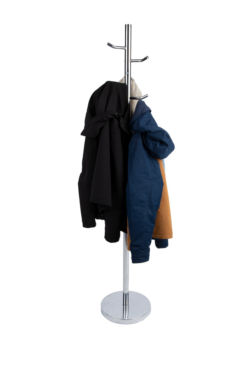 Coat Rack Coat Tree Hat Hanger Holder For Jackets, Scarves, Purses, Hats and More, 6 Hooks, Study Base, Heavy Duty, Silver