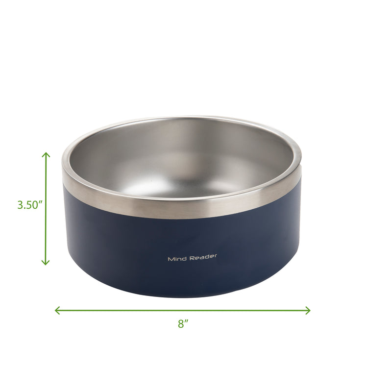 Mind Reader Stainless Steel Non Slip, Non Skid Large Capacity Dog Bowl 8 Cups, 64 Oz, Multiple Colors
