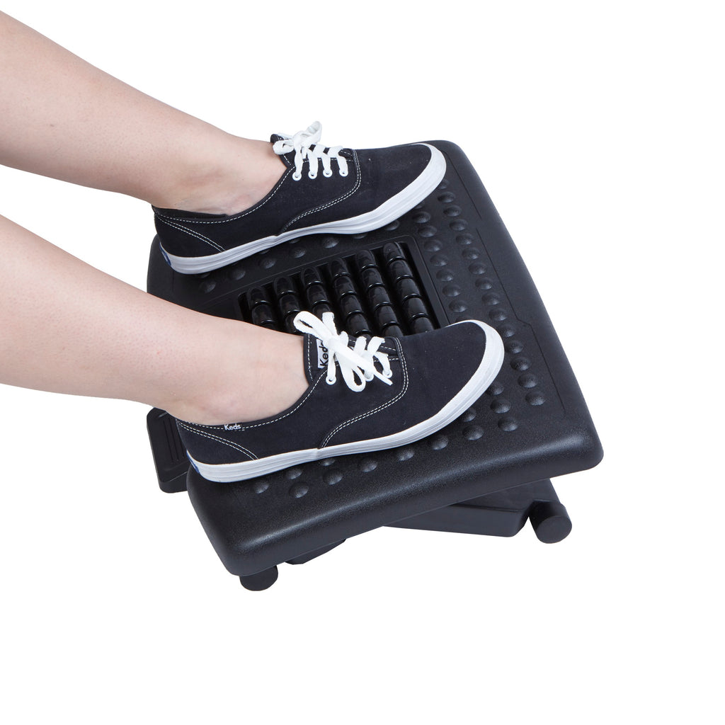 Mind Reader Adjustable Height Foot Rest with Rollers for Massage