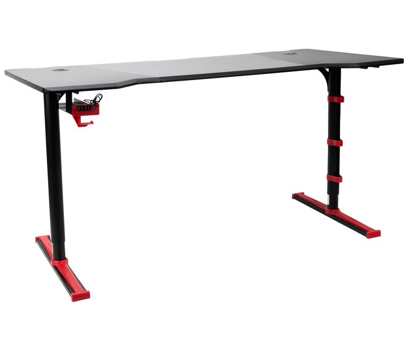 Adjustable Carbon Fiber Gaming Desk with 4-USB Ports, Headphone Holder, Cable Ports
