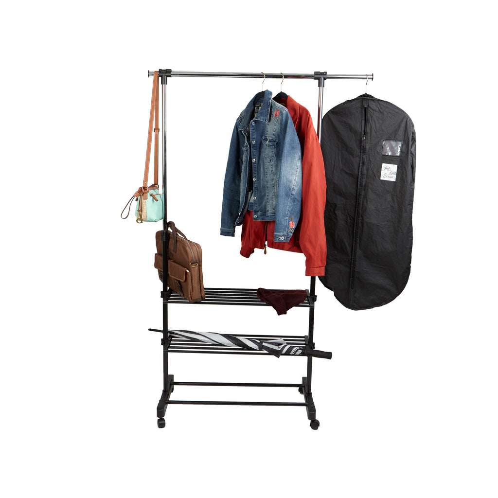 Mind Reader Garment Rack, 2-Shelf Clothing Rack, Adjustable, Stainless Steel