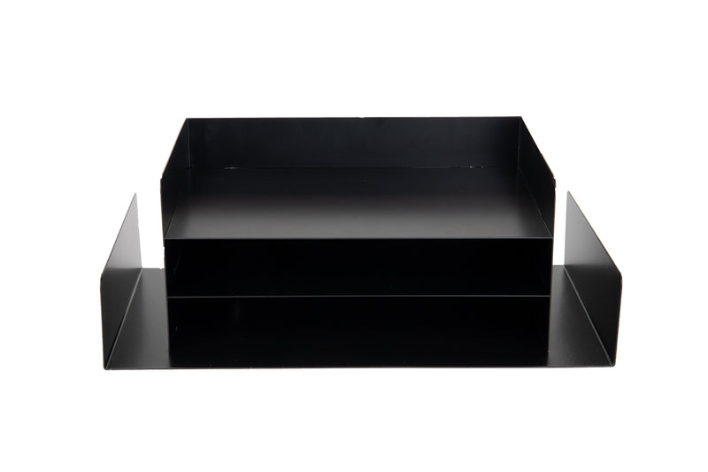 4-Tier Letter Tray Document Sorter with Side Storage, Black