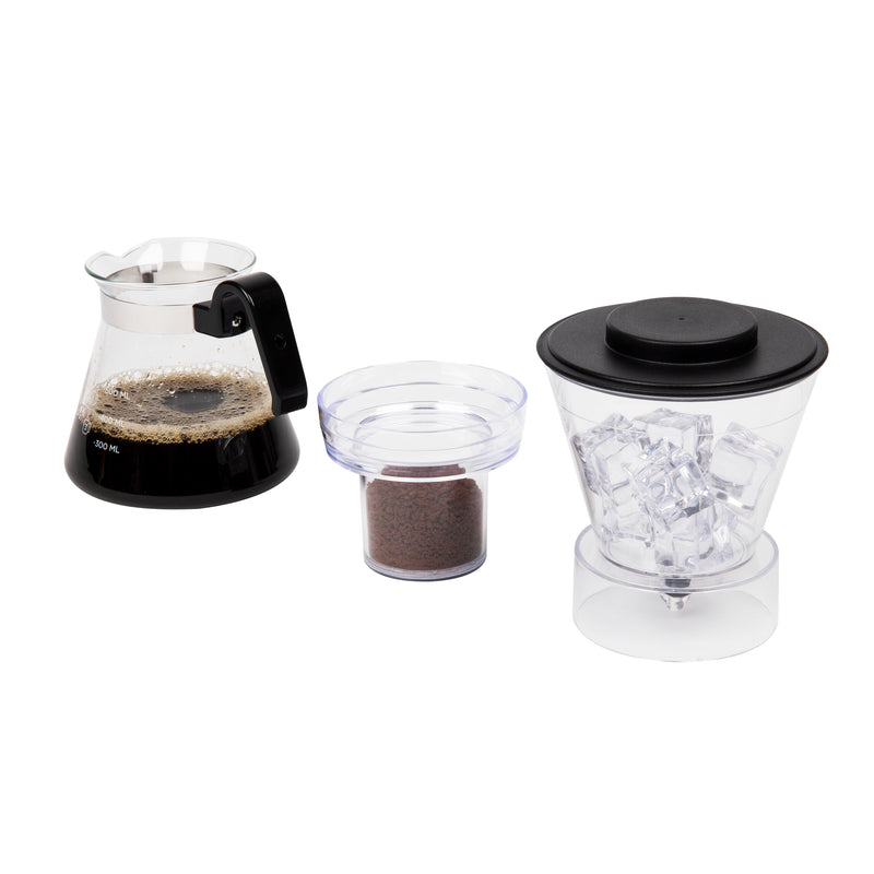 Glass Cold Brewer, Iced Coffee Maker with Stainless Steel Filter, Silver