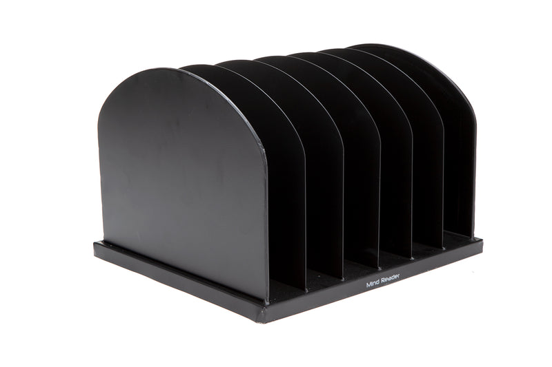 Mind Reader 6-Slot Metal File Organizer, Black