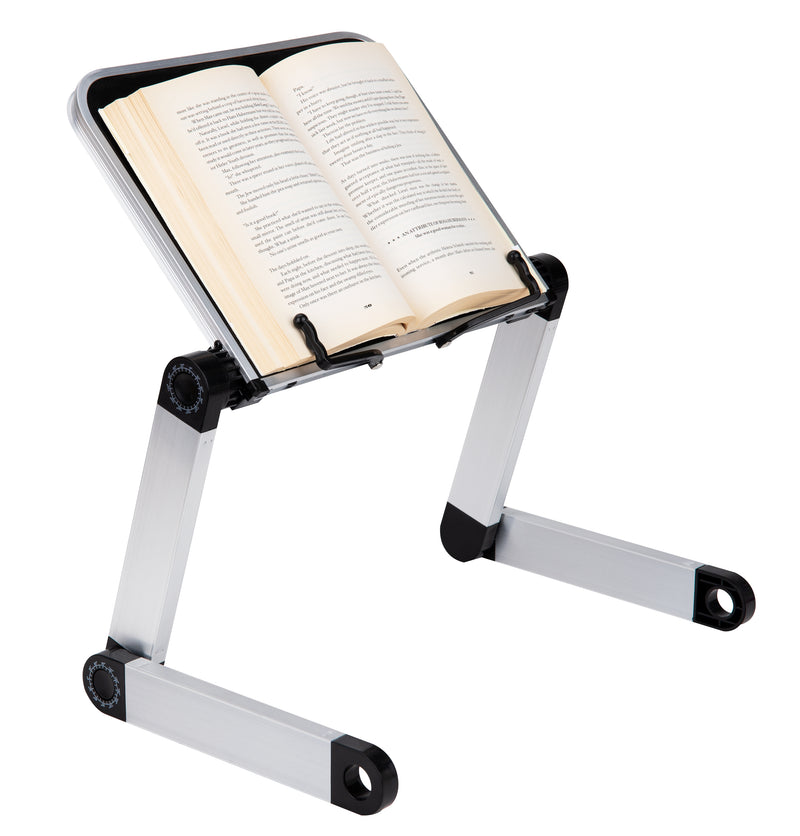 Collapsible Bookstand with Page Holders, Lap Desk with Adjustable Legs, Customizable Angles for Viewing